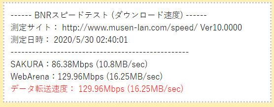 ドコモ光 速度測定の結果(実測値)下りスピード