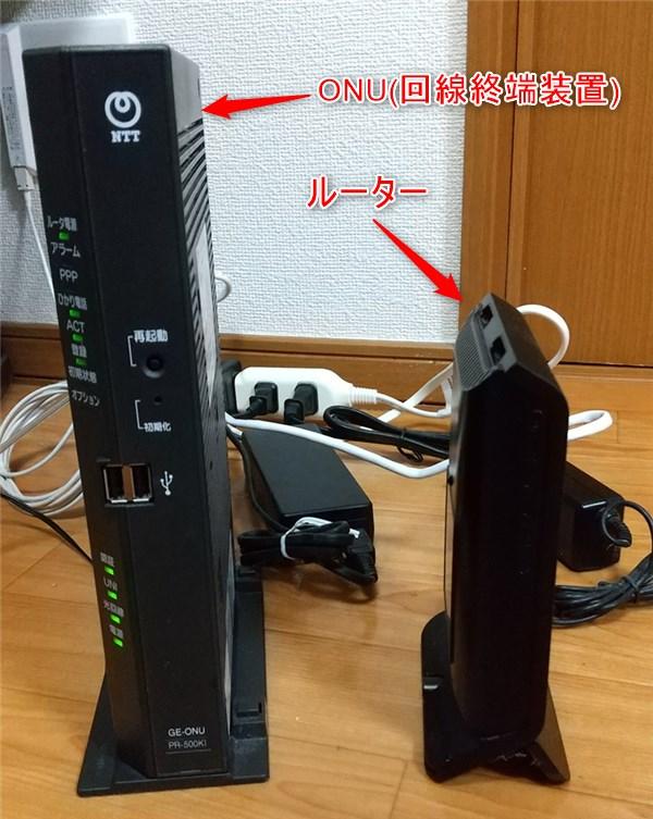 ドコモ光 ONU(回線終端装置)とルーター